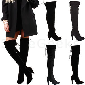 LADIES WOMENS ZIP STRETCH OVER THE KNEE THIGH HIGH HEEL BOOTS SIZE 3 4 5 6 7 8