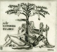 Adam & Eve, Don Quixote, Limited Edition  Ex libris Etching by Vadim Shramkov