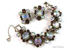 Vintage JULIANA D&E Topaz & AB Headlight Rhinestone Bracelet & Clip Earrings SET