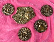 5 KEN TREISTER  BRONZE MEDALLIONS REPRESENTING JEWISH LIFE INCLUDING HOLOCAUST