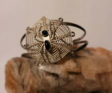 Vintage Spider Bracelet With Web Handmade No Hallmarks Silver Toned Black Onyx