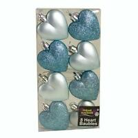 Christmas Decoration 8 Pack 50mm Glitter / Plain Hearts - Ice Blue