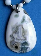 GEMSTONE! White & Green OCEAN JASPER Pendant Necklace Set Natural