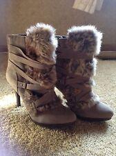 Elle Zoe taupe fur heel boots size 9