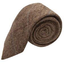 Luxury Herringbone Brown Tweed Tie Mens Necktie
