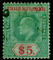 MALAYSIA - Straits Settlements SG167, $5 green & red/green, FINE used. Cat £75.