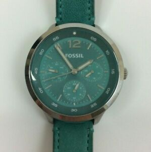 Fossil Ladies Editor Watch Green Calf Skin Pave Silver Tone ES 3243 New Battery