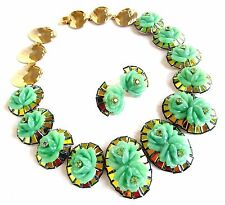 IRIS G Green Glass Flower-Mirror-Austrian Crystal Runway Demi-Choker ER - OOAK