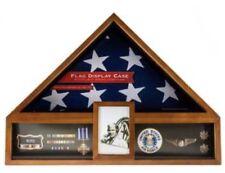 AMERICAN FLAG DISPLAY CASE VETERAN MILITARY  FUNERAL BURIAL MEDAL Oak