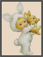 Baby in Easter Bunny Suit Counted Cross Stitch Chart #42-109