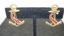 Vintage Signed SAL Swarovski Gold Tone Anchor with Red Crystal Clip Earrings