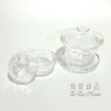 E-Tea-House, Chinese Honeycomb Pattern Crystal Glasss Gaiwan + Tea Cup 2pcs