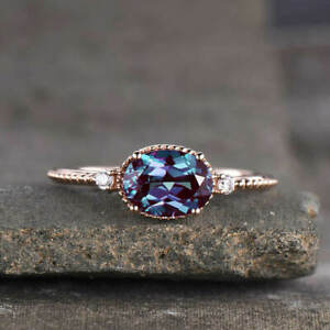 3Ct Oval Cut Alexandrite Diamond Solitaire Engagement Ring 14K Rose Gold Finish