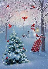 New listing Winter Christmas Tree Snowman Dog Cardinal House Flag 40 x 28