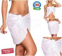 Coqueta White Chiffon Wrap Short Pareo Ladies Cover up Sarong Bikini Swimsuit