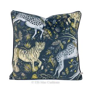 Emma Shipley Designer Protea Charcoal Velvet Gold Cushion Pillow Cover