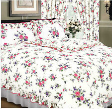 WHITE PINK & LILAC PRETTY FLORAL ROSE KING SIZE FRILLED DUVET COVER BED SET