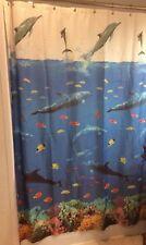 Dolphin Jumping Vinyl Shower Curtain Sea Clown Fish Ocean Deep Sea Coral 72x72