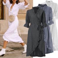 Womens V Neck Wrap Midi Dress Ladies Summer Holiday Ruffle Sun Dresses Size 8-26