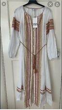 Zara Long Embroidered Tunic / Kaftan Dress Size Medium BNWT