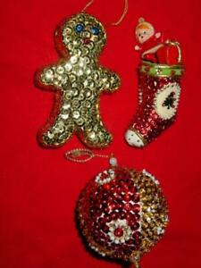 (3) Vintage WALCO Kit - GINGERBREAD STOCKING BALL - FINISHED Christmas Ornaments