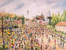 Boston Marathon Hopkinton starting line water color print by Nancy C Bailey
