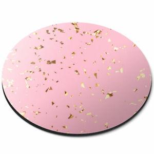 Round Mouse Mat - Pink Gold Flecks Effect Girl's Fun Office Gift #2640
