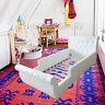 Kids Girls Boys Toddler PU Leather Diamond Single White Upholstered Bed
