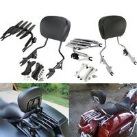 Detachable Backrest Sissy Bar Luggage Rack For Harley Touring Road King 14-20 US