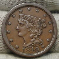 1849 Braided Hair Half Cent - Rare Only 39,864 Minted . Nice Coin (8302)