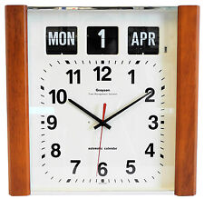 Grayson Dark Wood Panel Calendar Clock Day Date Month White Dementia - G239WD