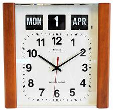 Grayson bois foncé Panneau Calendrier Horloge Jour Date Mois Blanc démence -