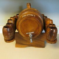 VINTAGE WOODEN MINI KEG WITH 12 CUPS ON STAND PHILIPPINES BEER WHISKEY TAP!