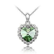 Herz Kette Collier Love , österr. Kristall, Weißgold plated, grün, Strass, süß!