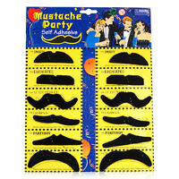 Stylish 12 Fake Mustaches Moustaches Moustache Set Fancy Dress Party Birthday