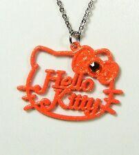 Pendentif Hello Kitty chaîne noeud couleur orange paillettes