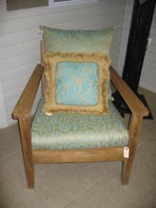 Pottery Barn Santina Occasional Teak wood Outdoor arm Chair Frontgate cushion