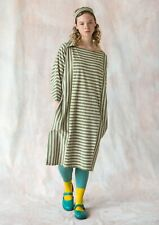 BNWT *Gudrun Sjoden* organic cotton green striped jersey dress L 46""