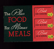 The Plus Food for Minus Meals Booklet 1920s Kelloggs All Bran