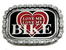 Biker Belt Buckle Love Me Love My Bike Heart Chain Motorcycle Authentic Product