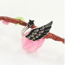 New Fashion Punk Cool Style Chic Silver Plated Crystal Wing Star Opening Ring