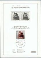 """Berlin Schwarzdruck 50. Todestag """"Ernst Barlach"""" 1988+Einzelwert auf Gedenkblatt"""