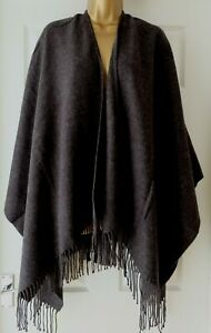 M&S Charcoal AUTOGRAPH  Fringe Trim Wrap Poncho Cape Large Scarf Shawl