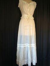 Vintage bridal Wedding gown Dress set Victorian camisole Petticoat cotton Lace S
