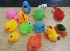 NEW 13Pcs Soft Rubber DI Float Sqeeze US Sound Baby Wash Bath Play Animals Toys