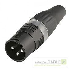 HICON 3-pol XLR male Stecker Kabel-Ø 3,5- 7mm versilberte Kontakte   HI-X3CM-BLK