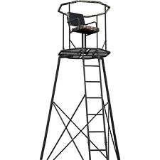 Outdoor Hunting 300lbs Blind Ladder Tripod Tree Stand 15' with Roof Kit