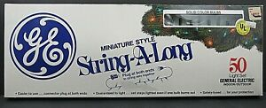 Miniature String-A-Long 50 Light Set Christmas Solid Green GE General Electric