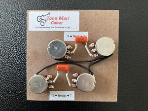 Prewired Upgrade Wiring Kit Gibson Les Paul Long Shaft Pots Orange Drop Caps