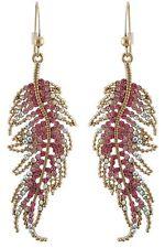Zest Swarovski Crystal Feather Drop Earrings for Pierced Ears Pink